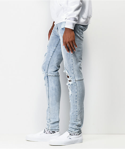 Ziggy Premium Pipes Trashed Blue Denim Skinny Jeans