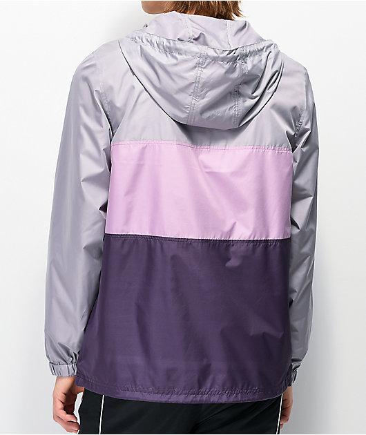 Zine Barry Grey & Purple Colorblock Windbreaker Jacket
