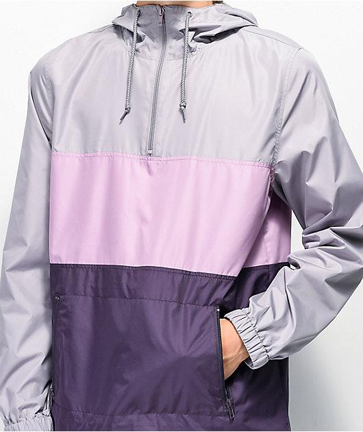 Zine Barry chaqueta cortavientos gris y morada