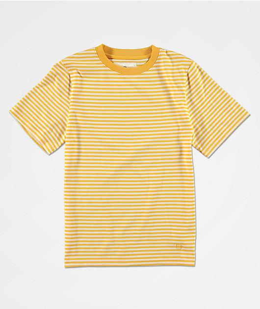 Zine Boys Ranked Yellow & White Striped Knit T-Shirt