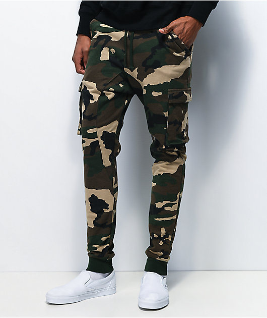Zine Cargo Green Camo Jogger Sweatpants