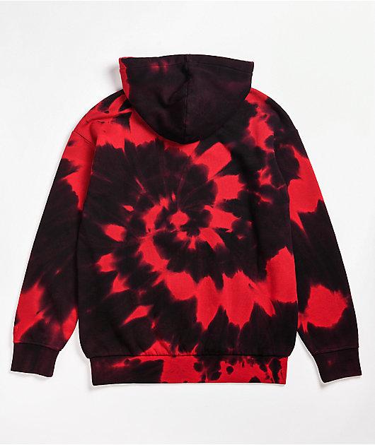 Zine Castle Red & Black Tie Dye Hoodie