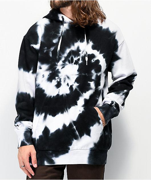 Zine Castle sudadera con capucha tie dye negra y blanca