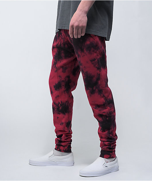 Zine Cover Black & Red Tie Dye Jogger Sweatpants