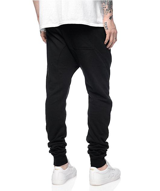 Zine Cover Black Solid Knit Jogger Pants