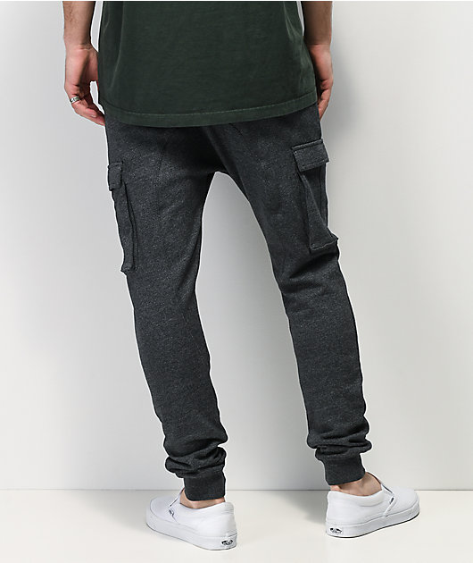 Zine Cover Marbled Obsidian Black Cargo Jogger Sweatpants