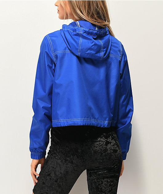 Zine Dayami Blue Crop Windbreaker Jacket