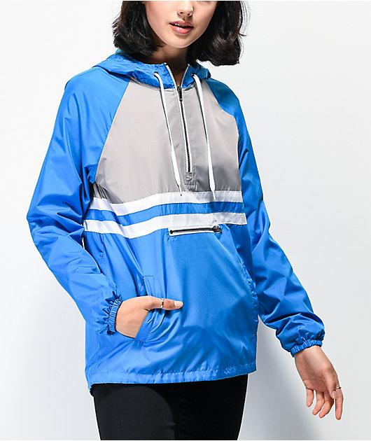 Zine Domino Blue Half Zip Windbreaker Jacket