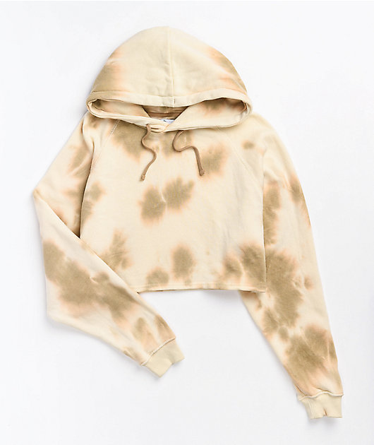 Zine Ellis Cream & Tan Tie Dye Crop Hoodie