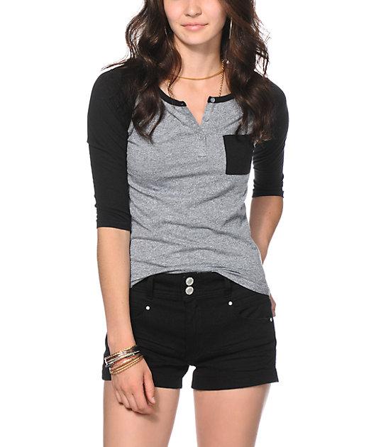 Zine Gamma Black & Charcoal Henley Shirt