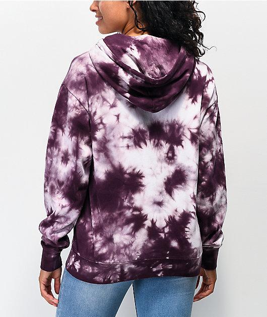 Zine Hunter sudadera con capucha de tie dye borgoña