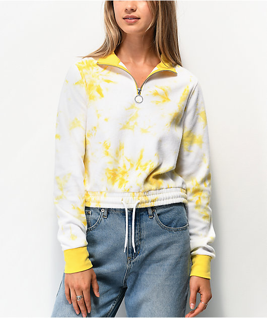 Zine Indiana Yellow Tie Dye Quarter Zip Crop Sweatshirt