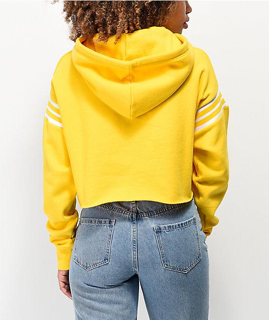 Zine Indie Rib Inset Yellow Crop Hoodie