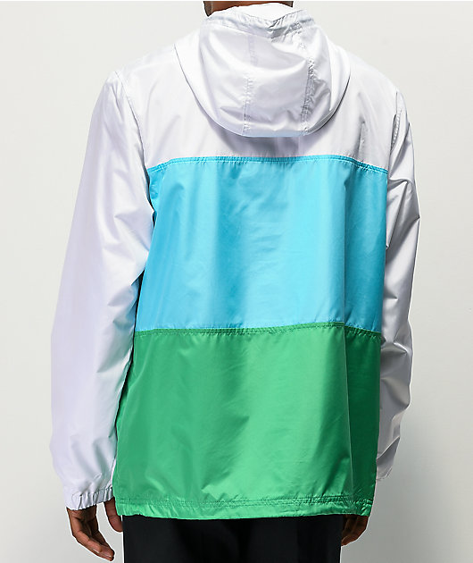 Zine Larry Blue, Green & White Colorblock Windbreaker Jacket