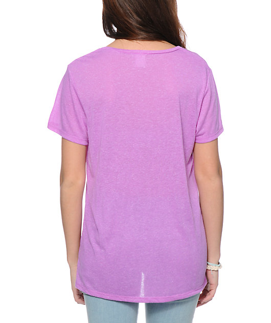 Zine Neon Purple Boyfriend Fit Pocket T-Shirt
