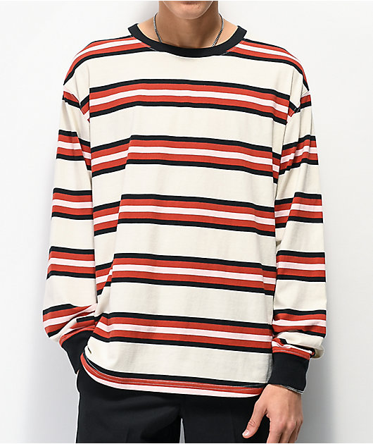 Zine Newbie Striped Grey & Red Long Sleeve T-Shirt