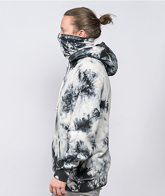 Zine Overcast White & Black Tie Dye Mask Hoodie
