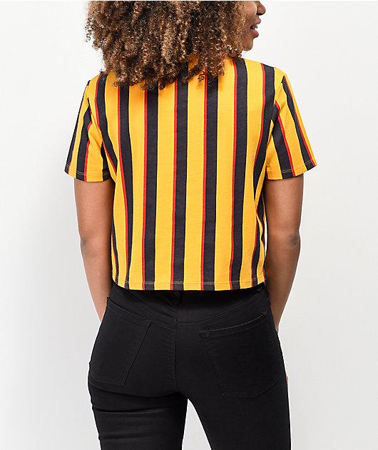 Zine Quinn Orange Vertical Striped Crop T-Shirt