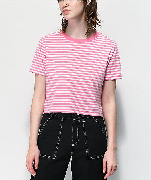 Zine Quinn Pink & White Stripe Crop T-Shirt