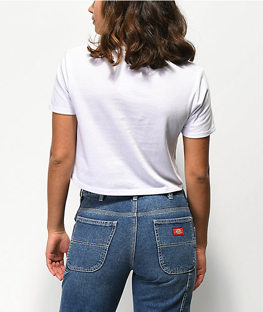 Zine Quinn Yellow & Blue Stripe White Crop T-Shirt