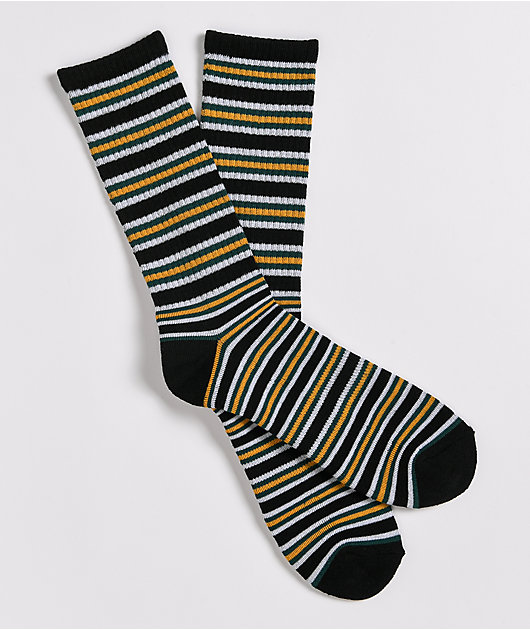 Zine Root White, Black & Gold Stripe Crew Socks