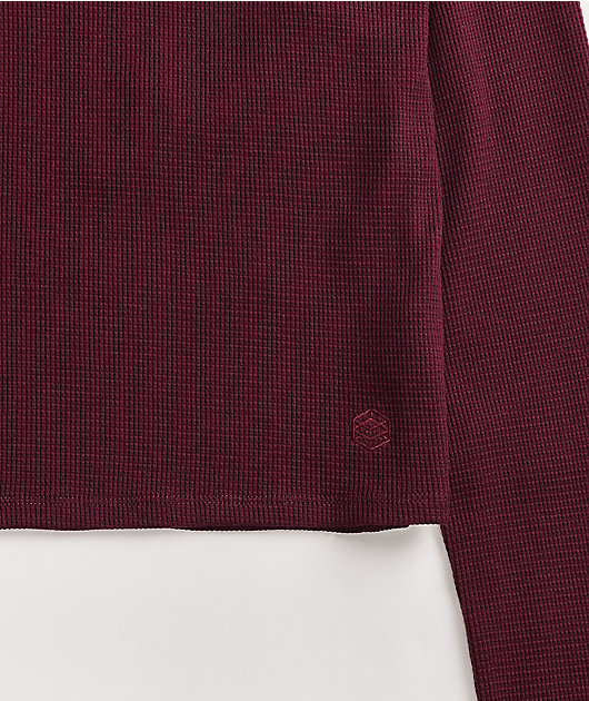 Zine Samson Burgundy Long Sleeve Thermal Crop Top