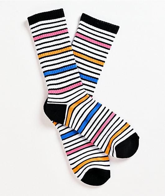 Zine Shadow White, Orange & Pink Crew Socks