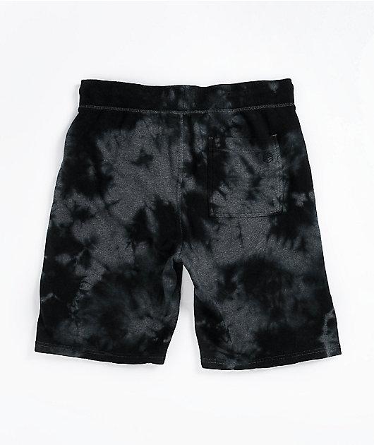 Zine Silias Black Tie-Dye Elastic Waist Sweat Shorts