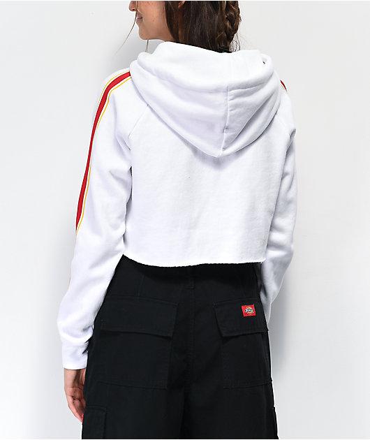 Zine Tera sudadera con capucha corta en blanco, rojo y amarillo