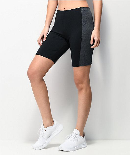 Zine Trin Black & Charcoal Bike Shorts
