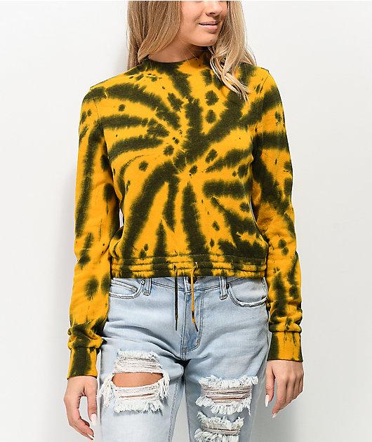 Zine Watts Gold & Black Tie Dye Crop Crew Neck Sweatshirt