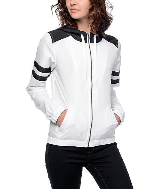Zine Zion Black & White Stripe Windbreaker Jacket