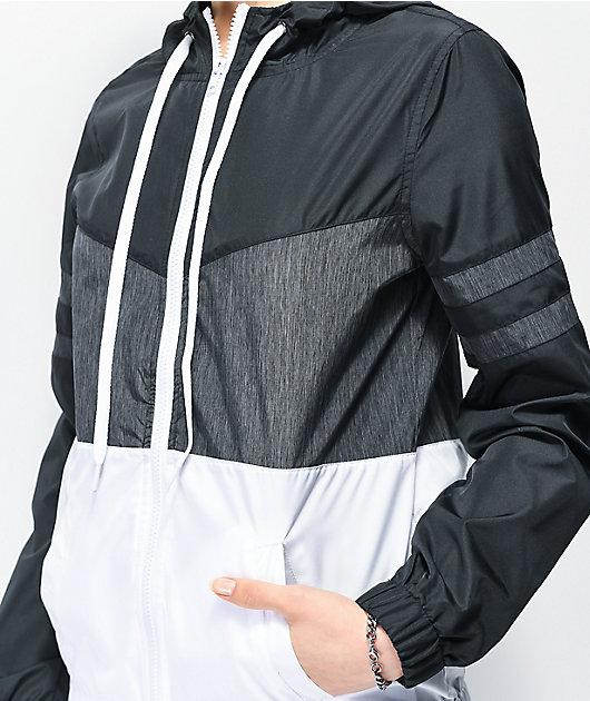 Zine Zuri Black, Grey & White Color Block Windbreaker