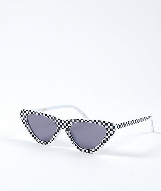 Zoe Checkered Black & White Sunglasses