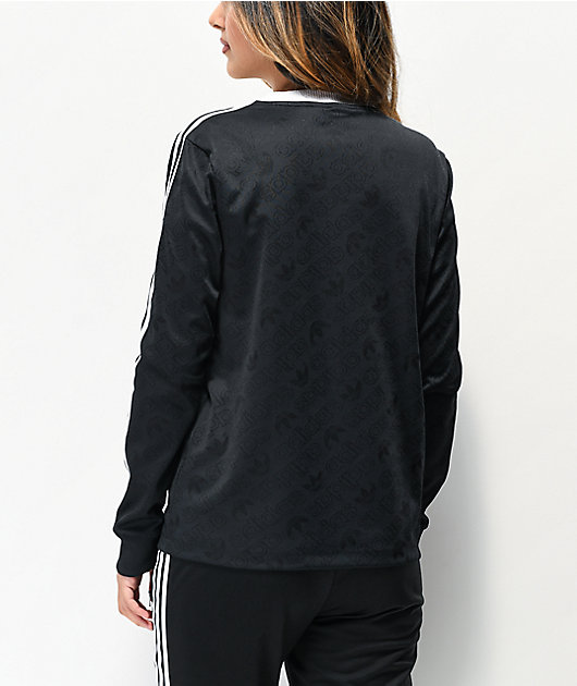 adidas 3-Stripe Allover Black Long Sleeve T-Shirt