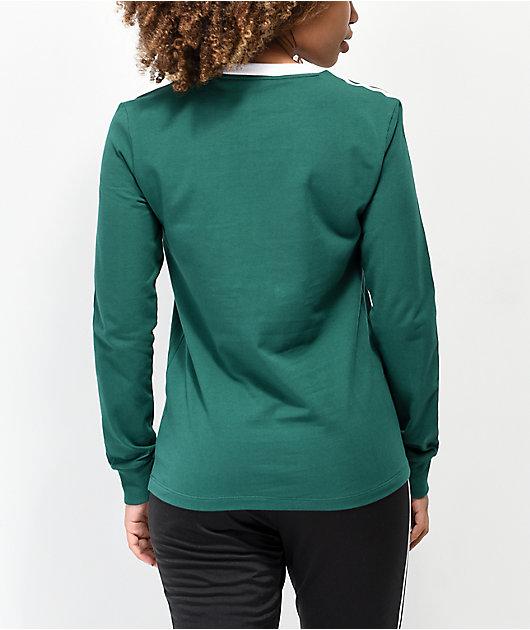 adidas 3-Stripe Collegiate Green & White Long Sleeve T-Shirt