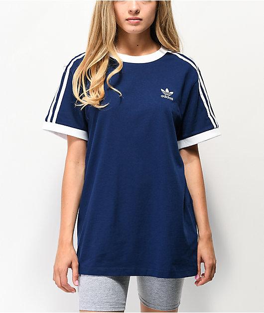 adidas 3-Stripe Dark Blue T-Shirt