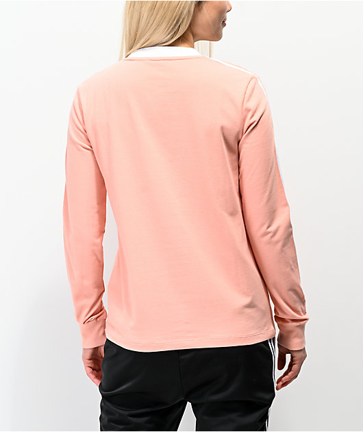 adidas 3-Stripe Dust Pink Long Sleeve T-Shirt