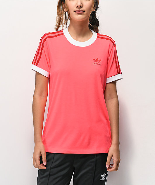 adidas 3 Stripe Flash Red T-Shirt