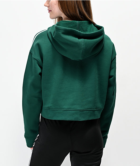 adidas 3 Stripe Green Crop Hoodie