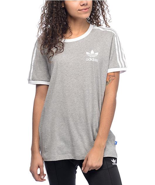 adidas 3 Stripe Heather Grey T-Shirt