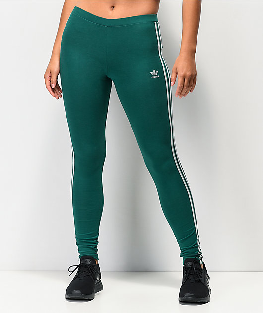 adidas 3 Stripe Noble Green Leggings