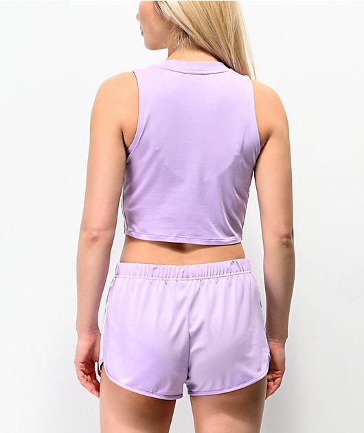adidas 3 Stripe Purple Glow Crop Tank Top