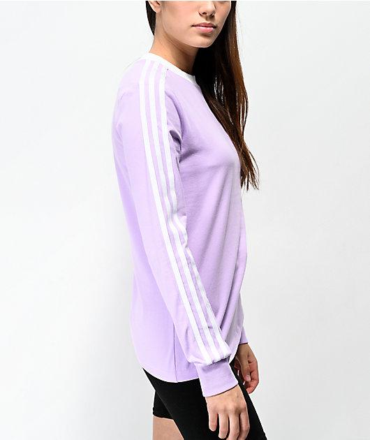 adidas 3 Stripe Purple Glow Long Sleeve T-Shirt