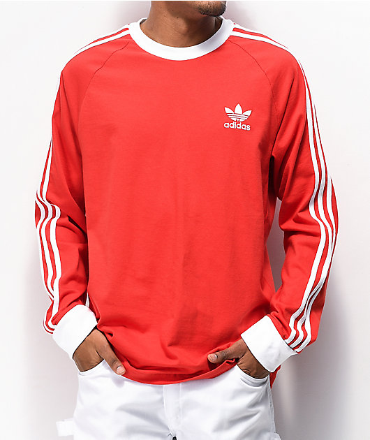 adidas 3 Stripe Red Long Sleeve Knit T-Shirt