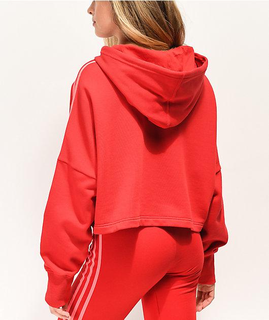 adidas 3-Stripe Scarlet Crop Hoodie