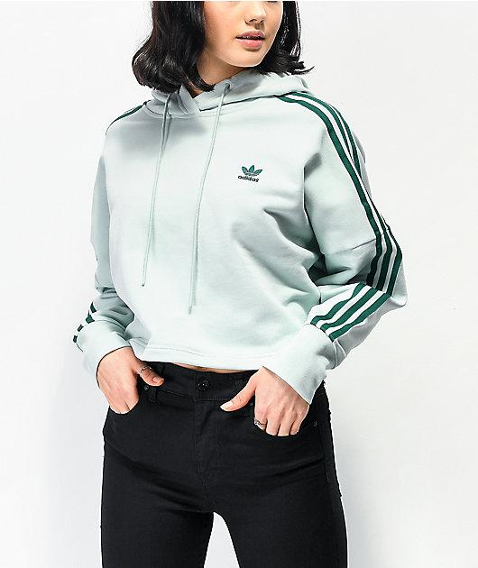 adidas 3 Stripe Vapour Green Crop Hoodie