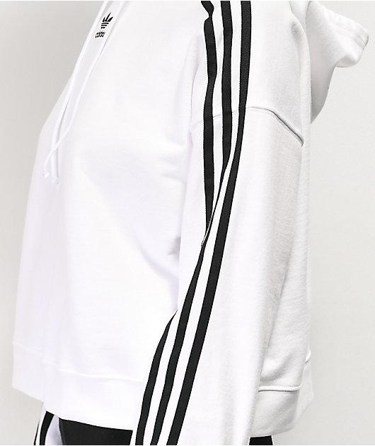adidas 3-Stripe White Crop Hoodie