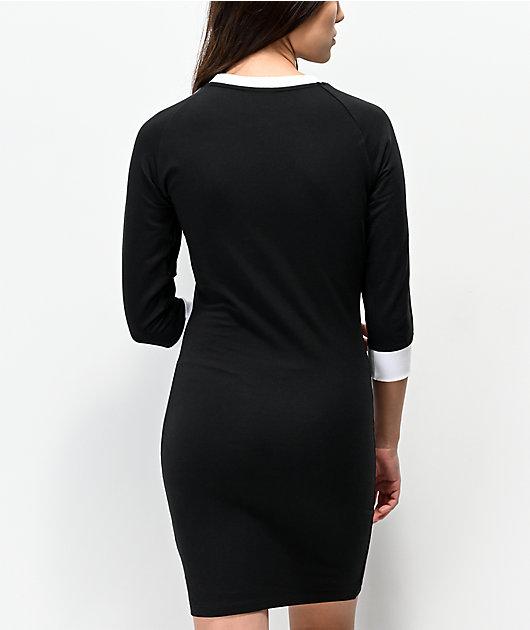 adidas 3 Stripes Black Long Sleeve Dress