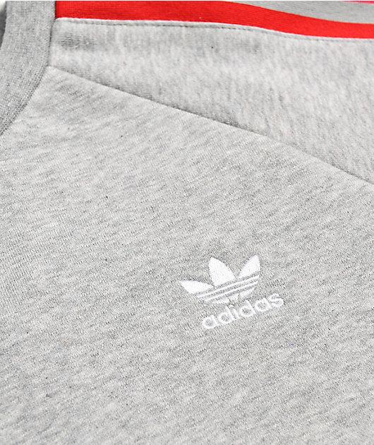 adidas 3D Trefoil & 3 Stripe Grey Crew Neck Sweatshirt